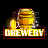 Neon Light signboard for Brewery Royalty Free Stock Photography