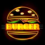 Neon Light signboard for Burger Stock Photo