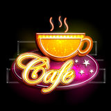 Neon Light signboard for Cafe. Easy to edit vector illustration of Neon Light signboard for Cafe royalty free illustration