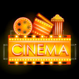 Neon Light signboard for Cinema banner. Easy to edit vector illustration of Neon Light signboard for Cinema banner Royalty Free Stock Photos