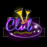 Neon Light signboard for Club Stock Photography