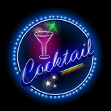 Neon Light signboard for Cocktail shop Stock Image