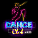 Neon Light signboard for Dance Club Stock Images