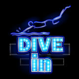 Neon Light signboard for Dive in. Easy to edit vector illustration of Neon Light signboard for Dive in Royalty Free Stock Images