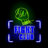 Neon Light signboard for Fight Club Stock Image
