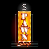 Neon Light signboard for Pawn Shop Royalty Free Stock Photos