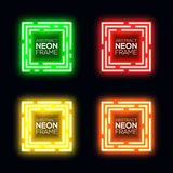 Neon light square set. Shining rectangle techno frame collection. Night club electric 3d banner on dark backdrop. Green red yellow orange abstract background Stock Photo