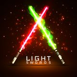 Neon light swords. crossed light, fire, flash and sparkles.  Stock Photos