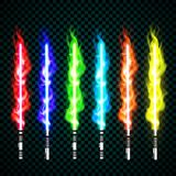 Neon light swords. crossed light, fire, flash and sparkles.  Royalty Free Stock Image