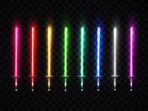 Neon light swords set. Colorful glowing sabers. Neon light swords set. Colorful glowing sabers collection  on transparent background. Luminous weapon elements Royalty Free Stock Image