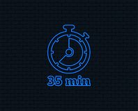 Timer sign icon. 35 minutes stopwatch symbol. Neon light. Timer sign icon. 35 minutes stopwatch symbol. Glowing graphic design. Brick wall. Vector Stock Images
