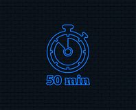 Timer sign icon. 50 minutes stopwatch symbol. Neon light. Timer sign icon. 50 minutes stopwatch symbol. Glowing graphic design. Brick wall. Vector Royalty Free Stock Image