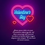 Neon light Valentine`s day I love you card. Vector illustration Stock Image