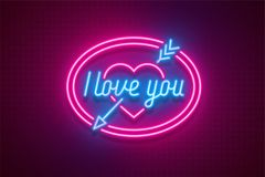 Neon light Valentine`s day I love you card. Vector illustration Stock Photos