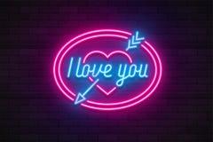 Neon light Valentine`s day I love you card. Vector illustration Stock Photo