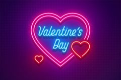 Neon light Valentine`s day I love you card. Vector illustration Stock Photography