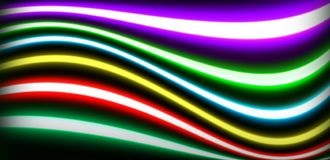 Neon lighting tubes sealed glass. Neon lighting consists of brightly glowing, electrified glass tubes or bulbs that contain rarefied neon or other gases. Neon royalty free stock photo