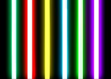 Neon lighting tubes sealed glass. Neon lighting consists of brightly glowing, electrified glass tubes or bulbs that contain rarefied neon or other gases. Neon stock image