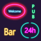 Neon lightning signboard Bar, welcome, pub. White vector brick wall background Stock Image