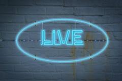 Neon lighton de muur met het LEVENDE woord royalty-vrije stock fotografie