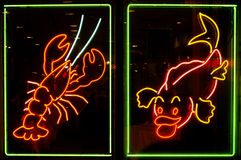 Neon Lights. Generic seafood neon lights at a store window.  Long exposure creates softness around lights Royalty Free Stock Images