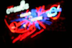 Neon lights. Defocused neon lights - color abstract royalty free stock photos