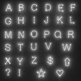 Neon lights - alphabet Stock Photos
