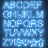 Neon lights - alphabet. 3d render of neon lights - alphabet royalty free illustration