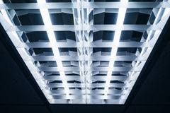 Neon Lights on ceiling perspective Royalty Free Stock Image