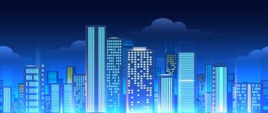 Neon lights cityscape seamless pattern vector illustration