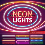 Neon Lights Decoration Set. For Your Custom Sign. Used pattern brushes included. There are fastening elements in a symbol palette Royalty Free Stock Image