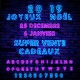 Neon lights design, French Joyeux Noel. Christmas background, retro card, Xmas vector banner. Lettering Merry Christmas card. Neon lights design, French Joyeux royalty free illustration