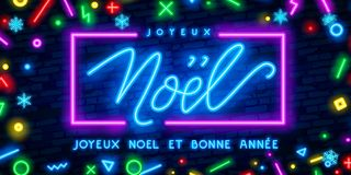 Neon lights design, French Joyeux Noel. Christmas background, retro card, Xmas vector banner. Lettering Merry Christmas card. Neon lights design, French Joyeux stock illustration