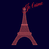 Neon lights eiffel tower silhouette with text. Je t'aime (I love you Royalty Free Stock Images