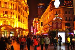 Neon light night view of the famous Nanjing Road in Shanghai China. Neon lights in the famous Nanjing Road in Shanghai China is a big tourist attraction Royalty Free Stock Photography