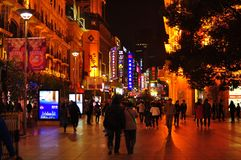 City light night view of the famous Nanjing Road in Shanghai China. Neon lights in the famous Nanjing Road in Shanghai China is a big tourist attraction Royalty Free Stock Images