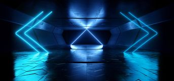 Neon Lights Futuristic Glowing Vibrant Blue Laser Night Show Tunnel Corridor Reflective Concrete Alien Spaceship Shapes Dark. Background 3D Rendering royalty free illustration