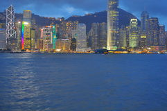 Neon lights at Hong Kong Harbour buildings Stock Image