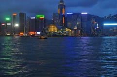 Neon lights at Hong Kong Harbour buildings stock photos