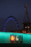 Neon lights and London Eye Stock Images
