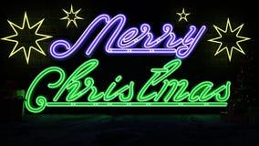 neon lights merry christmas stock illustration