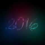 2016 neon lights new year effect Stock Photos