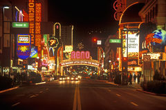 Neon lights at night in Reno, NV Stock Image
