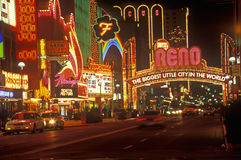 Neon lights at night in Reno, NV Stock Images