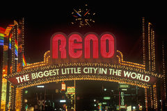 Neon lights at night in Reno, NV Stock Photography