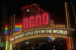 Neon lights at night in Reno, NV Stock Photo