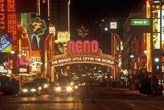 Neon lights at night in Reno, NV Royalty Free Stock Photos