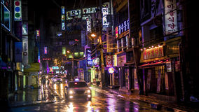 Neon lights in nighttime Korea Royalty Free Stock Photos