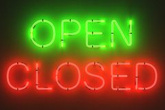 Neon lights - open and closed signs Stock Photography