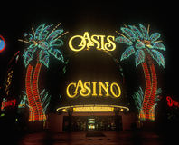 Neon lights outside of Oasis Casino and Hotel at night, Las Vegas, NV Stock Photography